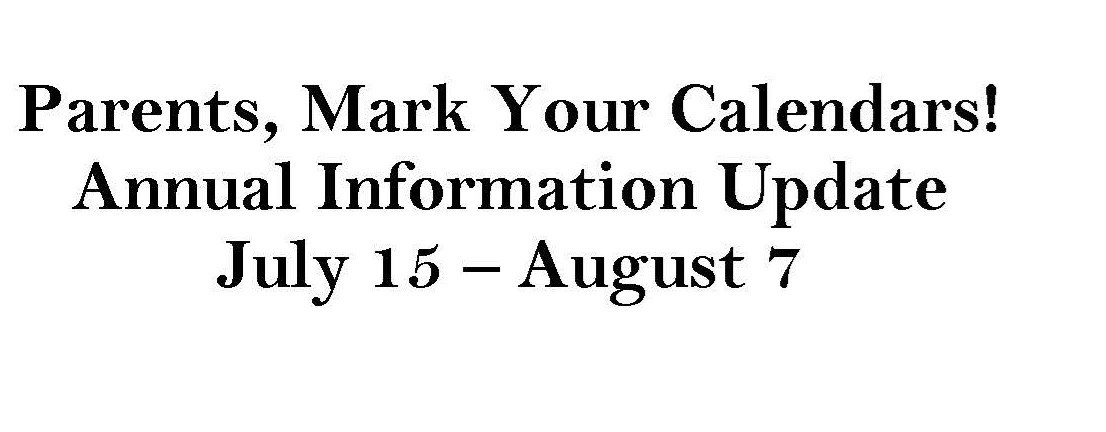 Annual Information Update July 15-Aug 7